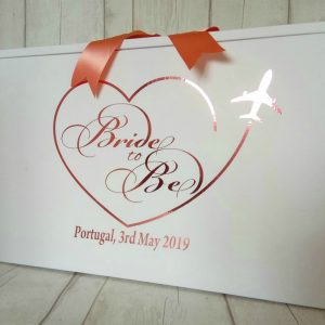 personalised bride to be a bride travel box in plane heart