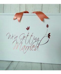 We're Getting Married wedding dress box. standard size