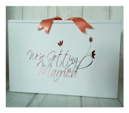We're Getting Married wedding dress box. standard size