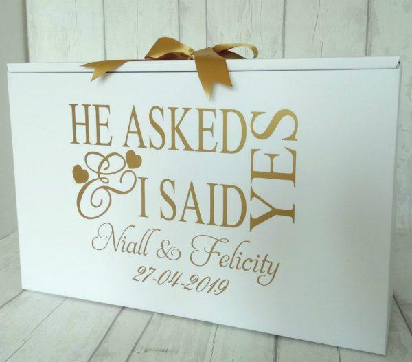 Wedding Dress Box, He Asked Personalised Box