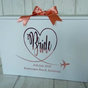 swirly bride wedding dress box for plane