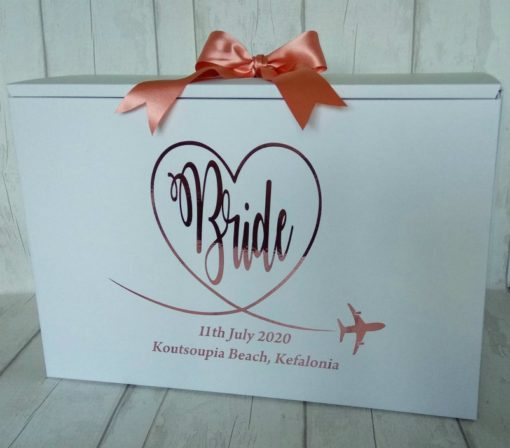 swirly bride wedding dress box for plane