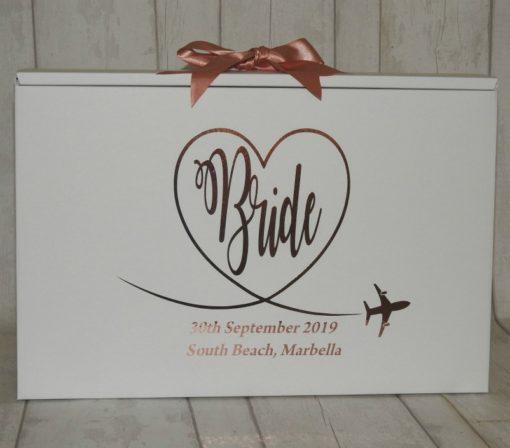 personalised Bride travel box for wedding dress