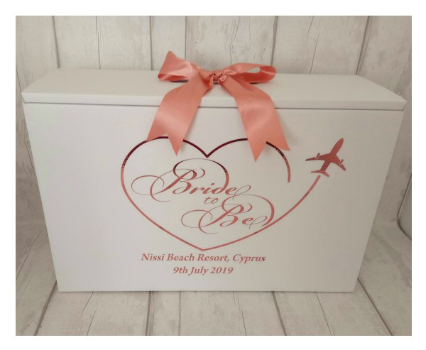 A wedding dress box for taking your dress onto a plane as hand luggage
