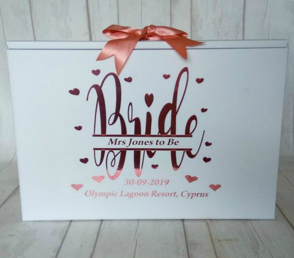 Personalised Bride, Wedding Dress Travel Box - Standard Airline hand luggage size
