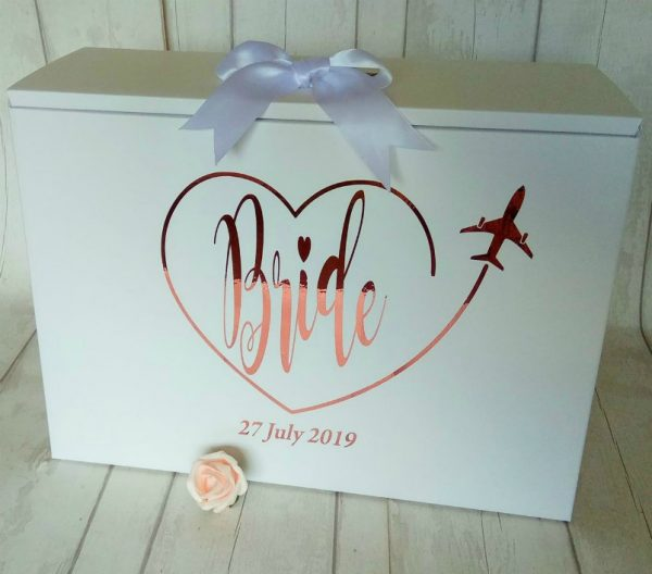 bride plane heart dress box